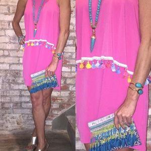 Hot Pink Tassel Dress